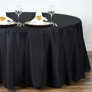 """Fancy Round Polyester 132"""" Black Tablecloth, NWOT"""